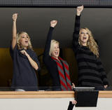 Carrie Underwood, Kellie Pickler and Taylor Swift at a hockey game